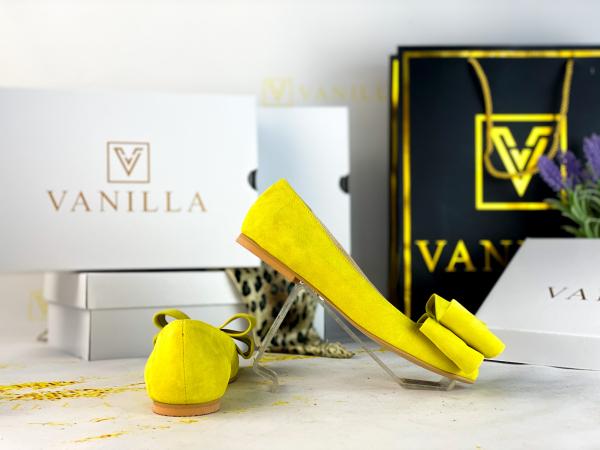 Balerini piele intoarsa Leona Yellow 2
