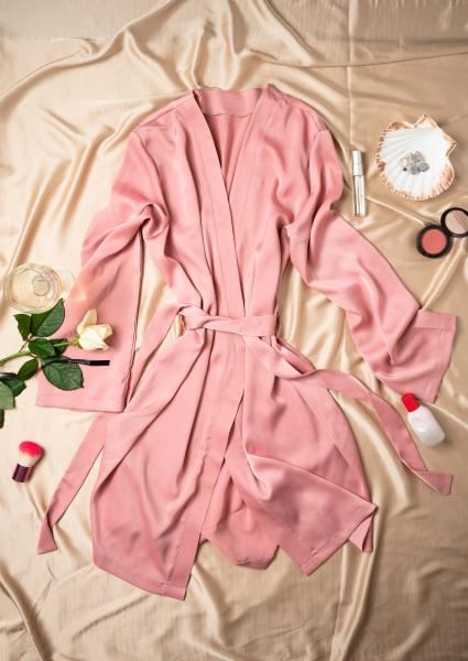 Cadou pentru ea - Halat de noapte din satin si Flori - Iasmine Pink 1
