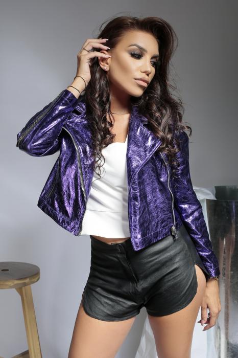 Geaca din piele naturala Savona Purple [5]