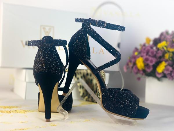 37   Sandale Ada Glitter Sticlos Negru Promo 2