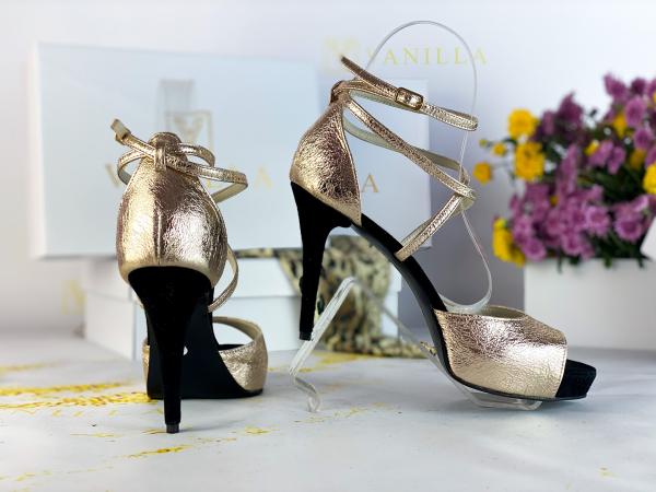 41   Sandale Ada Gold + Camoscio Negru Promo 2
