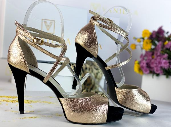 41   Sandale Ada Gold + Camoscio Negru Promo 1