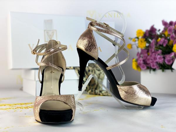41   Sandale Ada Gold + Camoscio Negru Promo 0
