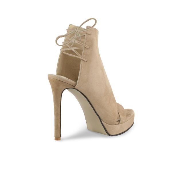 Sandale Monaco din piele intoarsa Bej 2