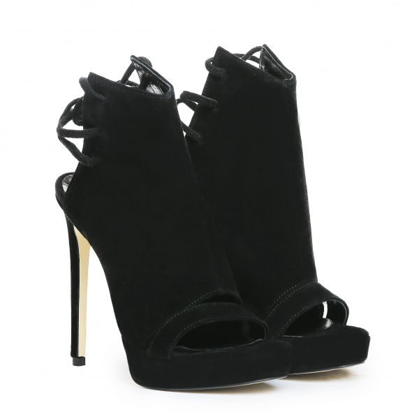 Sandale Monaco din piele intoarsa Negru [0]
