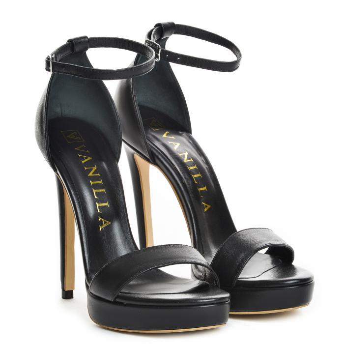 35 Sandale Viena Piele Neteda Toc Inalt Promo [0]