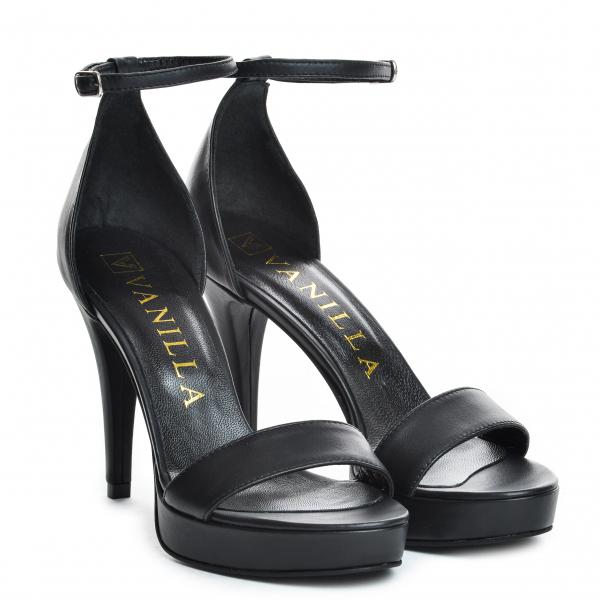 Sandale Viena Piele Neteda Toc Mic 0