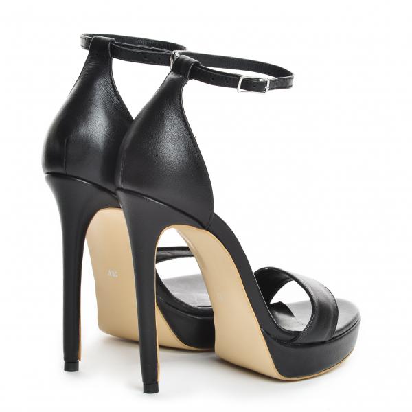 Sandale Viena Piele Neteda Toc Inalt [2]