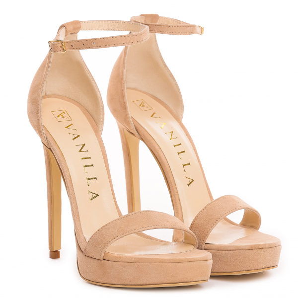 Sandale Viena Piele Intoarsa Bej 0