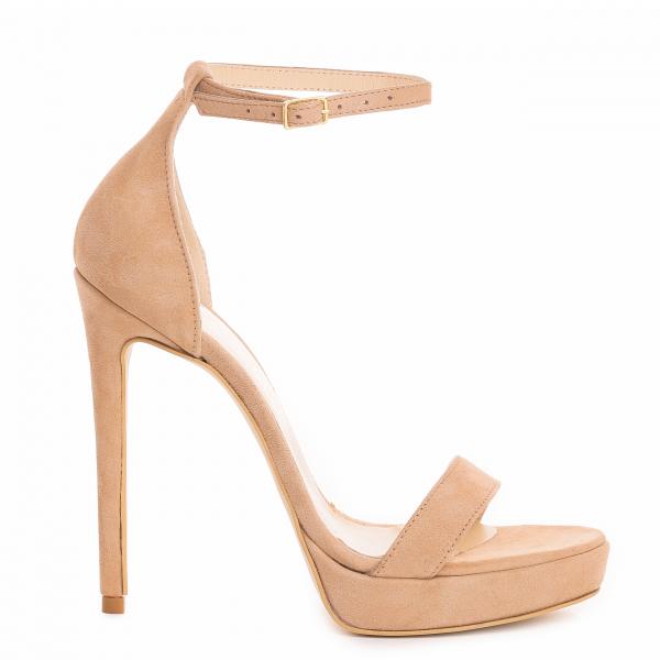 Sandale Viena Piele Intoarsa Bej 1