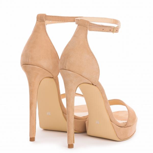 Sandale Viena Piele Intoarsa Bej 2