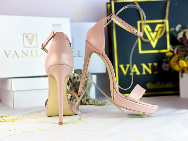 Sandale Viena Piele Neteda Toc Inalt 2