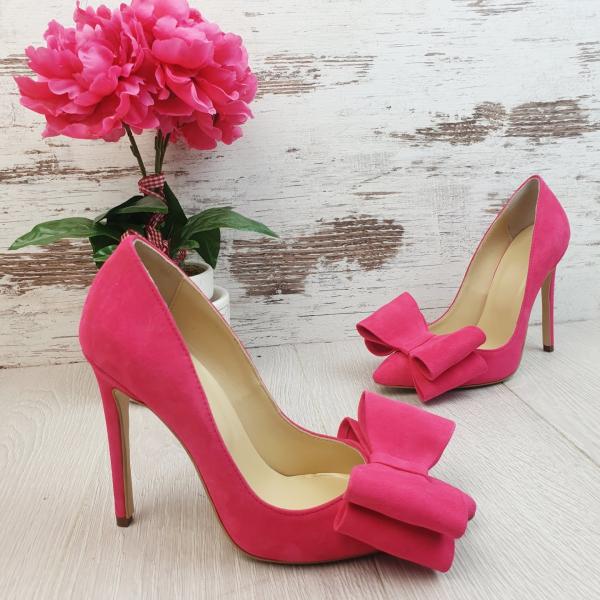 Stiletto Catrina din piele intoarsa Pink 1