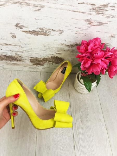 Stiletto Catrina din piele intoarsa Yellow 3