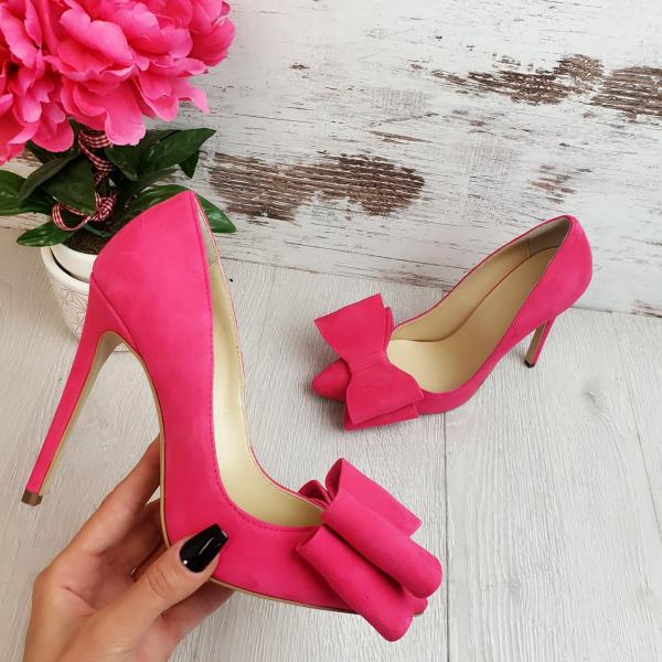 Stiletto Catrina din piele intoarsa Pink 0
