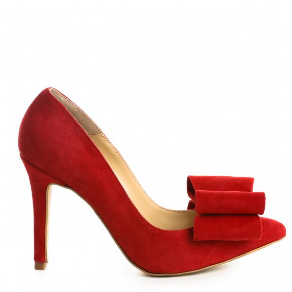 Stiletto Catrina din piele intoarsa Red 1