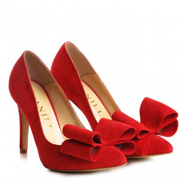 Stiletto Catrina din piele intoarsa Red 0