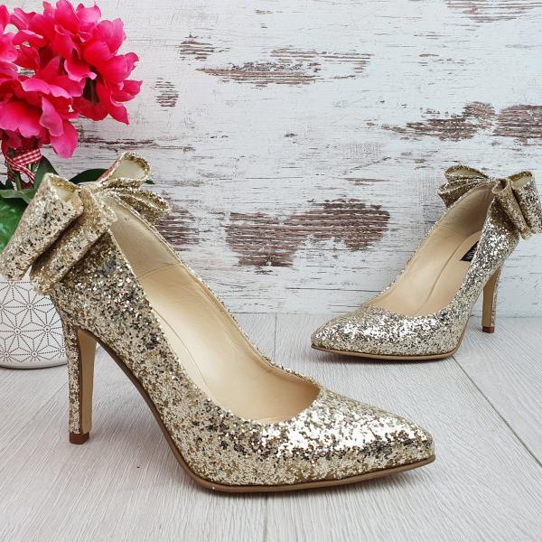 Stiletto Cleopatra Glitter Auriu Deschis Promo 0