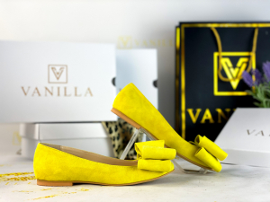 Balerini piele intoarsa Leona Yellow1