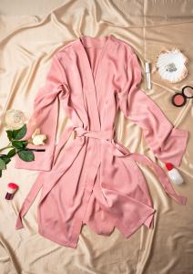 Cadou pentru ea - Halat de noapte din satin si Flori - Iasmine Pink1