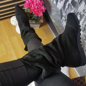Cizme joase Mara din piele intoarsa Black3