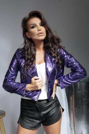 Geaca din piele naturala Savona Purple [6]