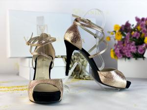 41   Sandale Ada Gold + Camoscio Negru Promo0