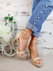 Sandale Viena Piele Neteda  Nude Toc Mic3