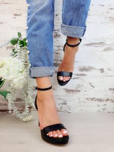Sandale Viena Piele Neteda  Black Toc Mic7