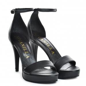 Sandale Viena Piele Neteda  Black Toc Mic0
