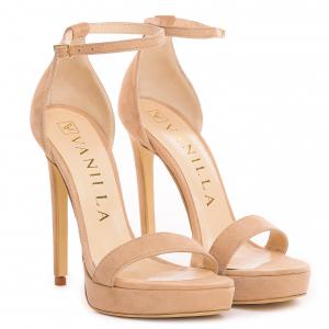 Sandale Viena Piele Intoarsa Bej0