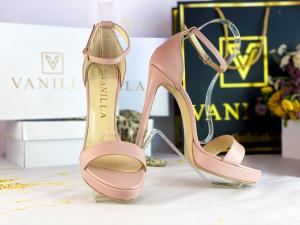 Sandale Viena Piele Neteda Pink  Toc Inalt0