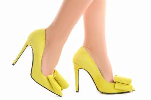 Stiletto Catrina din piele intoarsa Yellow1