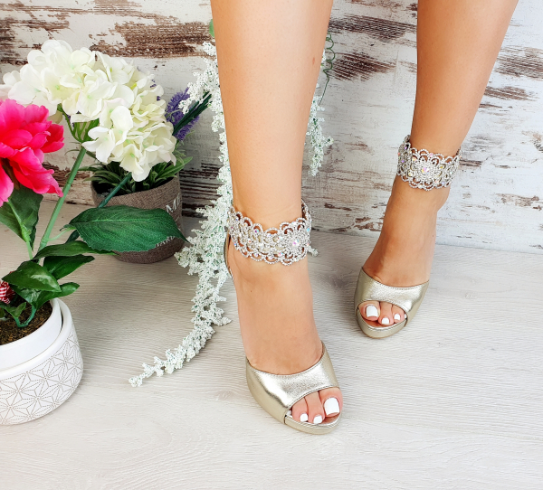 Sandale Alina Cristale Gold 1
