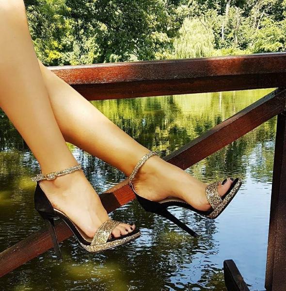 Sandale Ankara Piele Intoarsa si Glitter Promo 0