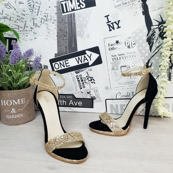 Sandale Ankara Piele Intoarsa si Glitter Promo 1