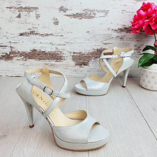 Sandale Berna Gri cu Reflexii Argintii Promo 1