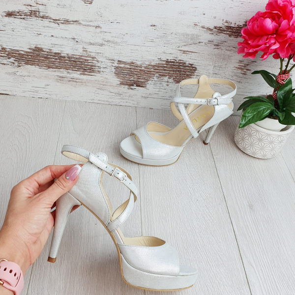Sandale Berna Gri cu Reflexii Argintii Promo 0