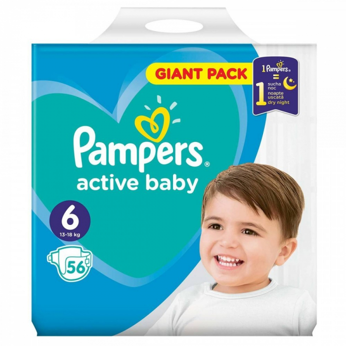 PAMPERS ACTIVE BABY GIANT NR. 6, 15+KG 56 BUC/PACHET [0]