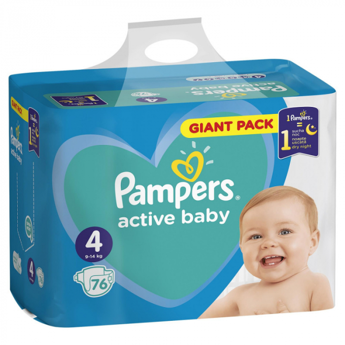 PAMPERS ACTIVE BABY GIANT NR. 4, 8-14 KG 76 BUC/PACHET [0]