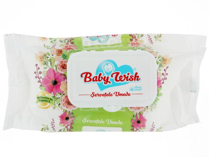 Servetele Umede cu Provita B5 si Vit E Fara Alcool Fresh Baby Wish 72 Buc [0]