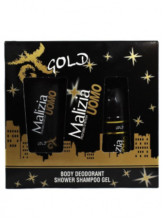 Malizia Caseta barbati:Gel de dus+Spray deodorant 250+150 ml Gold [0]