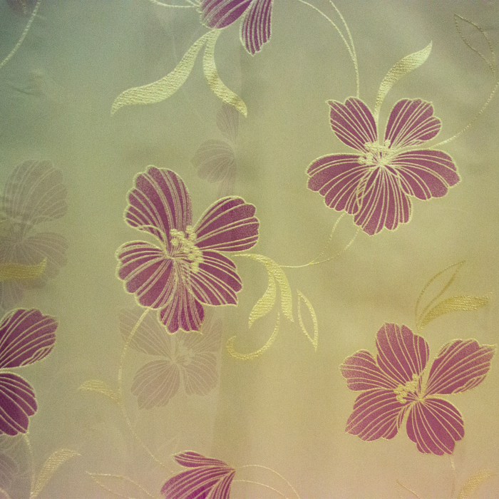 Perdele Velaria voal pictat cu flori mov 1