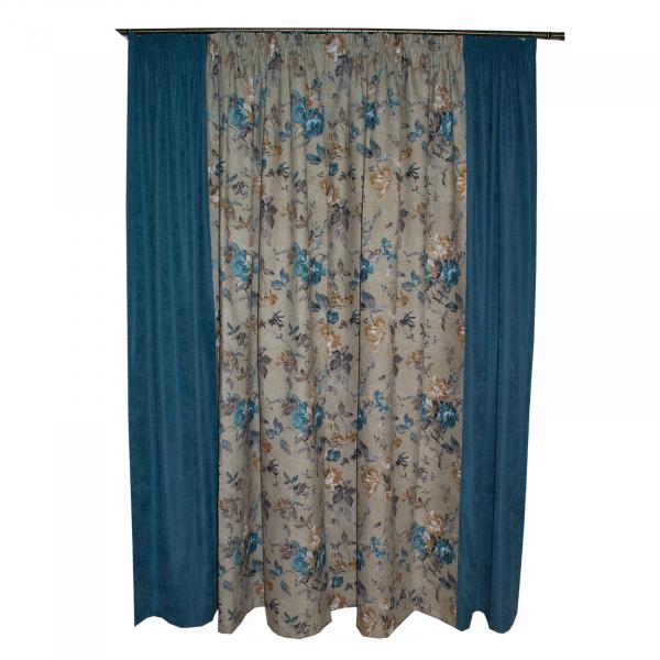 Set draperii gri cu flori turcoaz, 2x185x260 cm 2