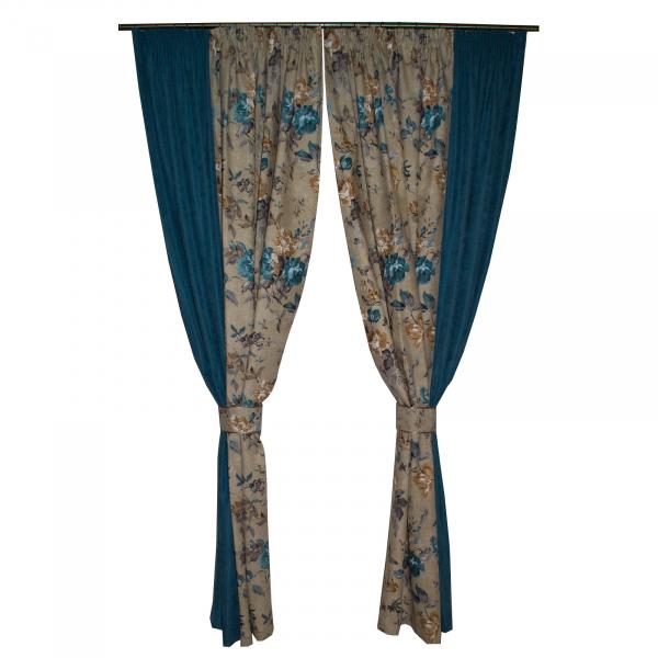 Set draperii gri cu flori turcoaz, 2x185x260 cm 0
