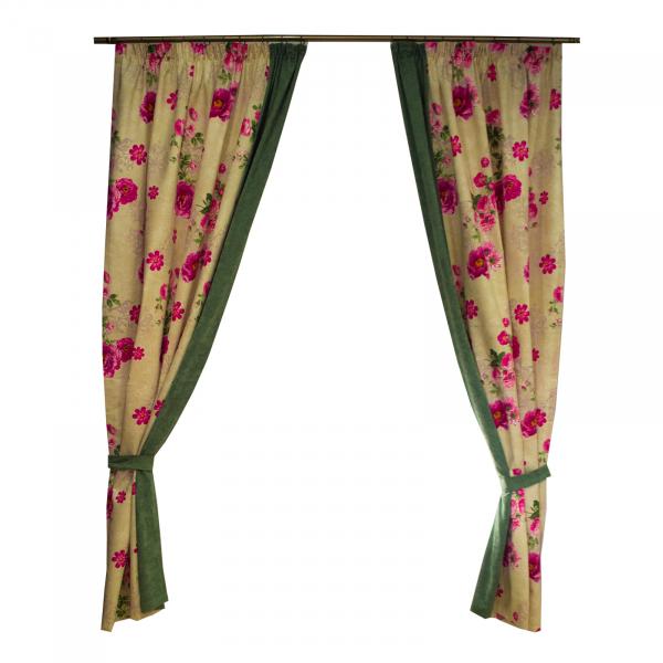 Set draperii Velaria flori siclam, 2x150x260 cm 0