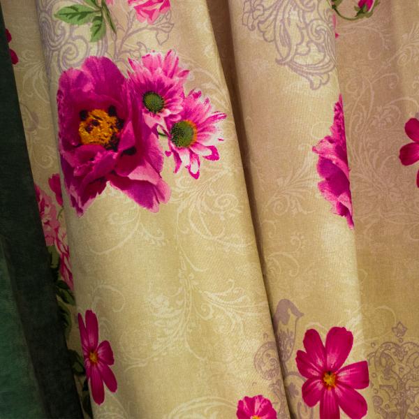Set draperii Velaria flori siclam, 2x150x260 cm 3