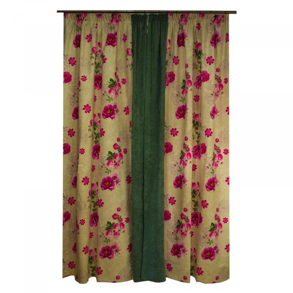 Set draperii Velaria flori siclam, 2x150x260 cm 1