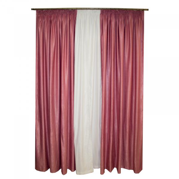 Set draperii roz prafuit, 420x255 cm 1