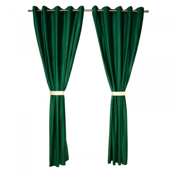 Set draperii Velaria catifea verde smarald cu capse, diverse dimensiuni 0